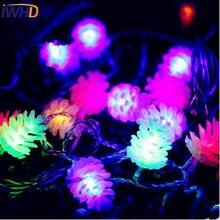 IWHD 10 м сосновые орехи светодиодный новогодние гирлянды новогодний светодиодный Сказочный свет для гирлянды Рождественское украшение для улицы Luzes De Natal