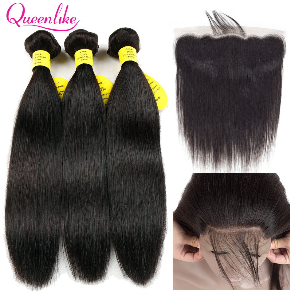Queenlike 3 4 Bundles Brazilian Hair Weave Bundles With Closure Non Remy Straight Human Hair Lace Frontal Closure With Bundles