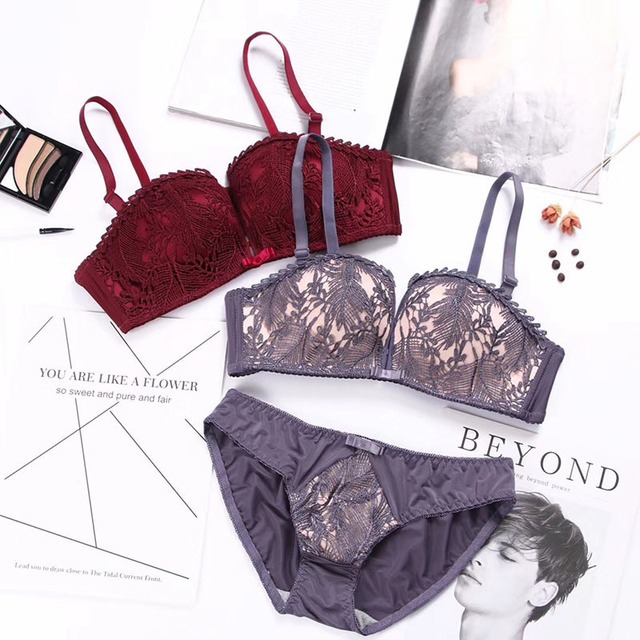ab829610697ed Roseheart Women Fashion Purple Red Lace Cover Bow Bras Panties Wireless  Push Up Bra Sets Underwear Sexy Lingerie Set A B 36 38