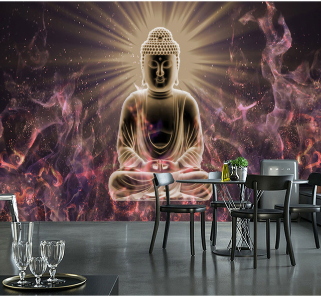 Bacaz Flame Figure of Buddha Wallpaper Murals for Living Room Restaurant Sofa Background 3D Buddha Wall paper sticker