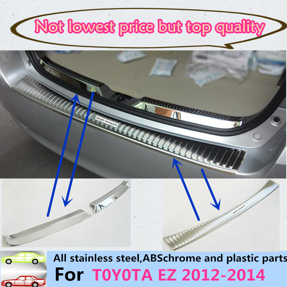 For Toyota EZ Verso 2012 2013 2014 Car body external/internal Rear Bumper trim Stainless Steel Scuff Sill trunk plate pedal part car styling abs rear bumper protector sill trunk tread plate trim for vw touareg 2011 2012 2013 2014 2015