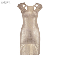 Adyce 2018 HOT SALE Women Summer Bandage Dress Mini Vestidos Sexy Gold Green Sliver O Neck Back Zipper Evening Party Dresses