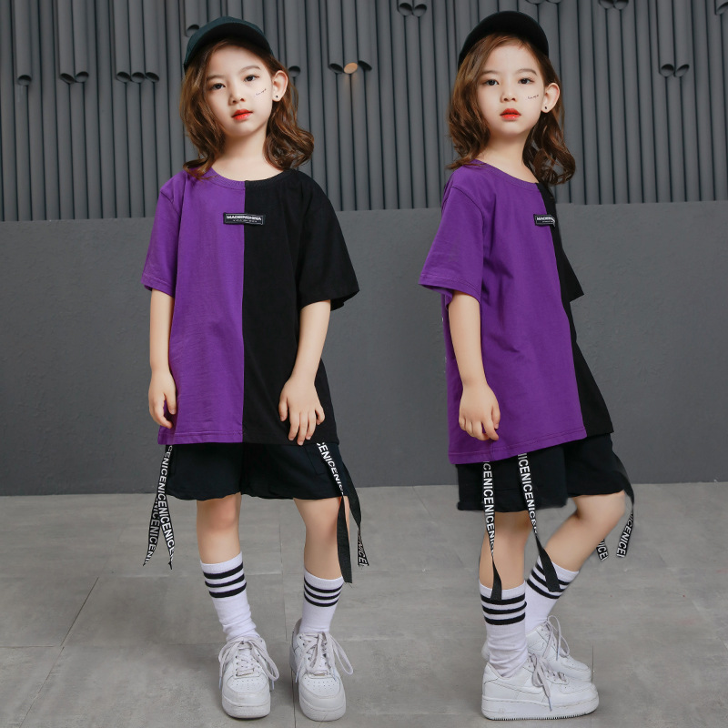 Image 2 - Girls Boys Punk Shirts Purple Hip Hop Clothing for Kids Ballroom Dance Clothing Jazz Children Loose Pants Stage Costume Suits-in Ballroom from Novelty & Special Use