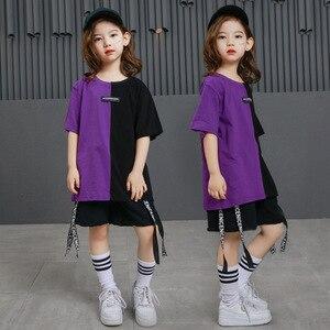 Image 2 - Girls Boys Punk Shirts Purple Hip Hop Clothing for Kids Ballroom Dance Clothing Jazz Children Loose Pants Stage Costume Suits