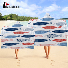 Miracille Colorful Fish Hooded Bath Towel Anime Aquatic Animal Microfiber Wearable Beach Wrap serviette Playful Soft Cloak