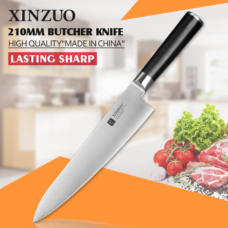 XINZUO 8 inch butcher font b knife b font 3 layer 440C clad stainless steel chef