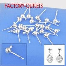 100 pçs lote atacado 925 prata esterlina moda feminina jóias achados real parafuso prisioneiro brincos pino bola contas cabeça