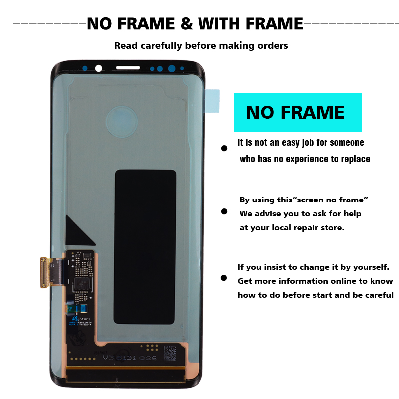 HTB1ETqqM9zqK1RjSZFLq6An2XXai ORIGINAL AMOLED Replacement for SAMSUNG Galaxy S9 S9+LCD Touch Screen Digitizer with Frame G960 G965 display