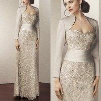Лидер продаж, кружевные платья для матери невесты с курткой, коллекция 2015 года, плиссированные платья до пола для матери невесты, платья для