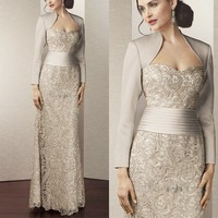 Hot Sale Lace Mother of the Bride Dresses With Jacket 2015 Floor Length Pleated Brides Mother Dresses For Wedding Sweetheart