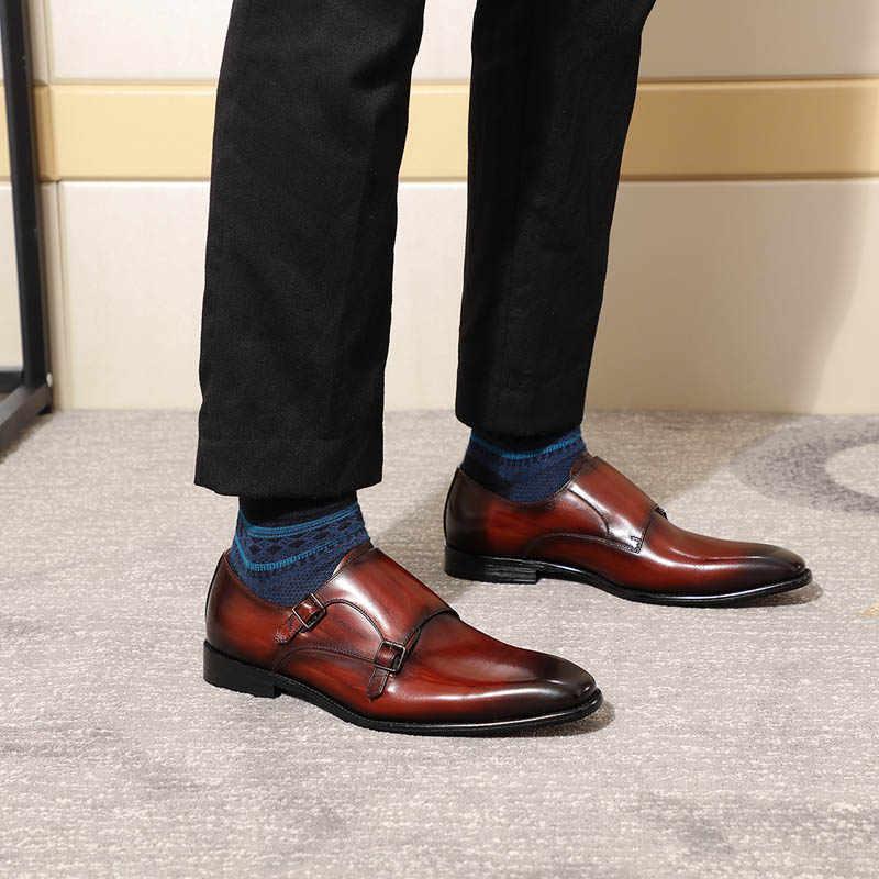 aac409a1bd284 ... Luxury Classic Genuine Leather Men's Double Monk Strap Dress Shoes Men  Black Burgundy Suit Shoe Business
