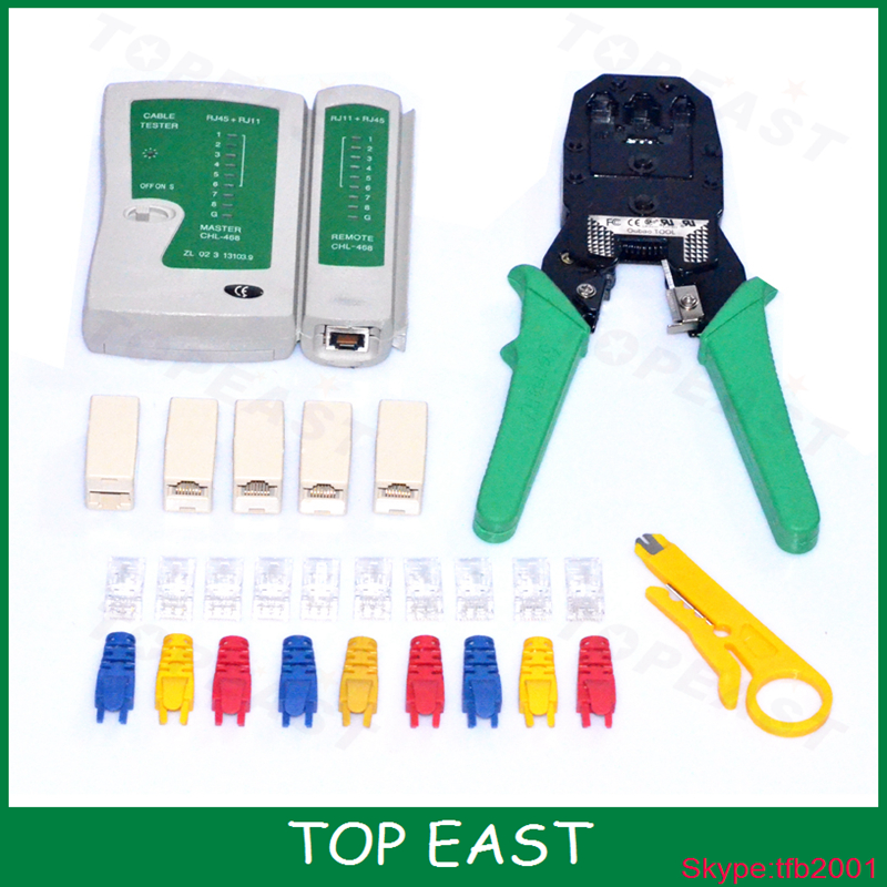 TOP EAST Tool Store Portable RJ45 RJ11 RJ12 Wire Cable Crimper Crimp Cutting Stripper PC Network Hand Tool Pliers and Cable Tester  Free Shipping