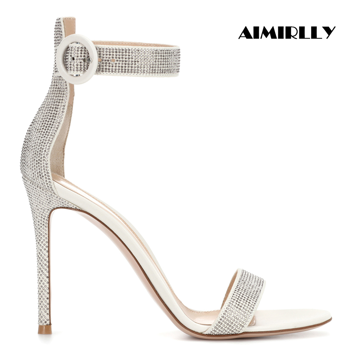 Aimirlly Women Shoes Peep Toe High Heels Sandals Summer Evening Party Wedding Bridal Dress Silver Crystal Buckle Strap