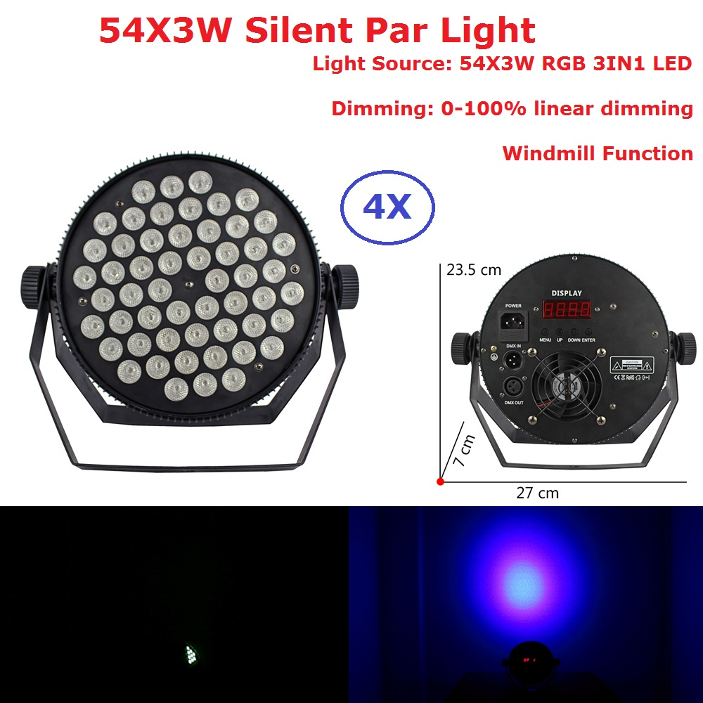 4XLot Portable Silent Par Light Flat LED Stage Effect Lights 54X3W RGB Full Color Dj Disco DMX Led Beam Wash Strobe Lighting 4xlot free shipping led par can 54x3w rgbw led par light strobe dmx controller for dj disco bar strobe dimming effect projector