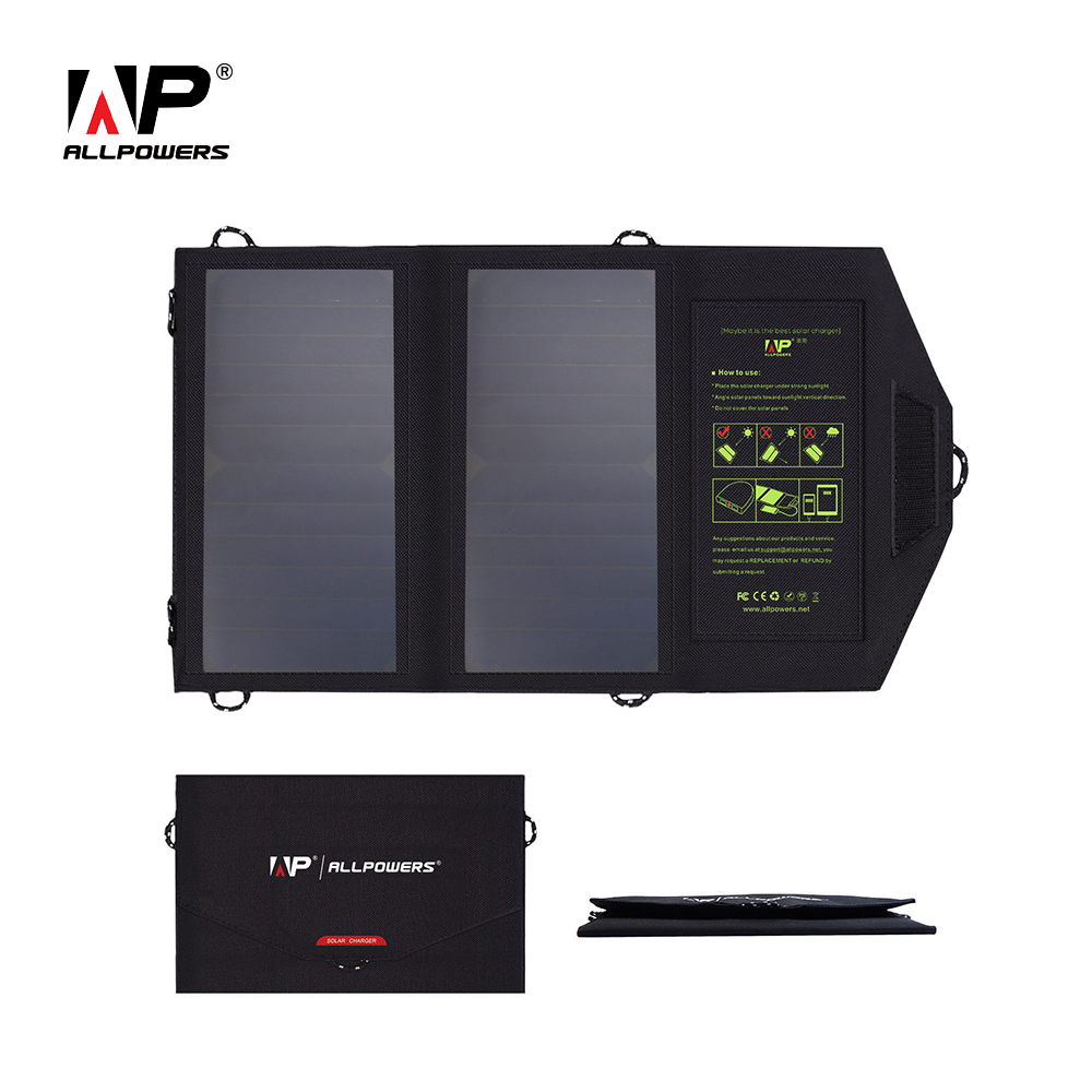 ALLPOWERS Dual USB Output Mobile Phone Chargers Solar-powered Phone Chargers for iPhone 4s 5 5s 6 6s 7 iPad Samsung etc.