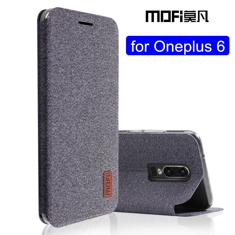 oneplus 6 case 1+6 flip cover silicone fabric protective case oneplus6 capas kickstand MOFi original one plus 6 case
