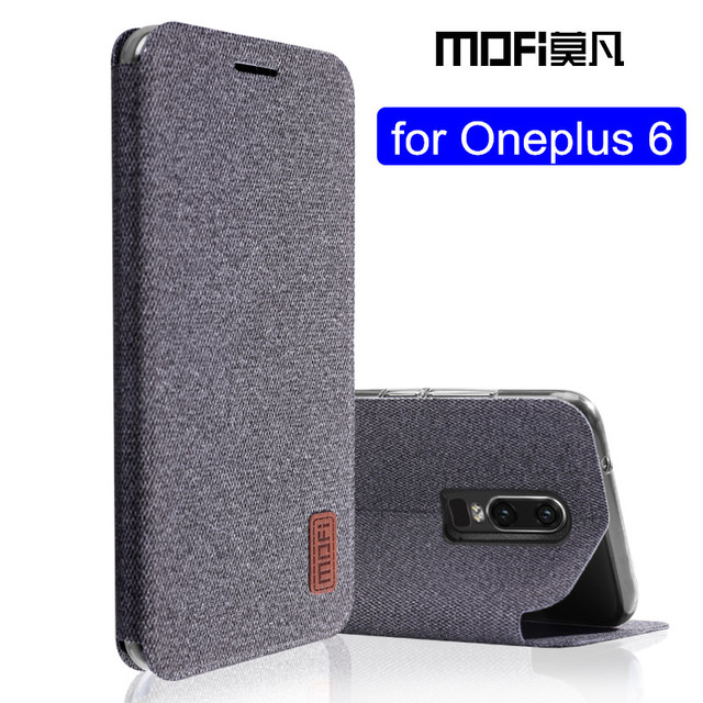 low priced 06a09 98e4f US $9.0 11% OFF|oneplus 6 case 1+6 flip cover silicone fabric protective  case oneplus6 capas kickstand MOFi original one plus 6 case-in Flip Cases  ...