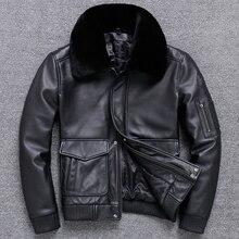 SHIIPING мужская кожаная куртка с отложным воротником утолщенный Летающий костюм кожаное пальто