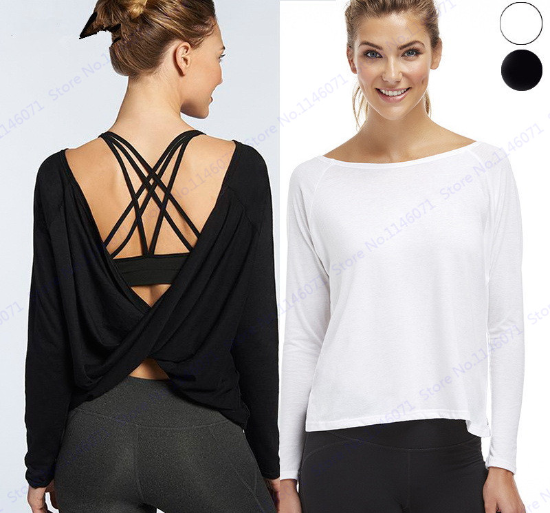 Black long sleeve fitness yoga shirts white reversible Yoga shirts with sleeves