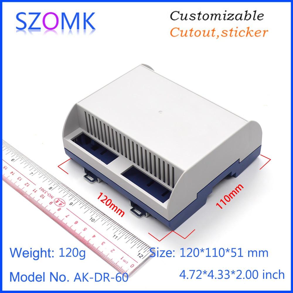 1 Piece 120*110*51mm Szomk New Design Plastic Box Electronics Din Rail Enclosure For Pcb Housing PLC Plastic Device Junction Box
