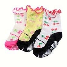 Toddler Girls Cotton Cherry Pattern Ankle Socks Warm Non slip Socks 0 3Y
