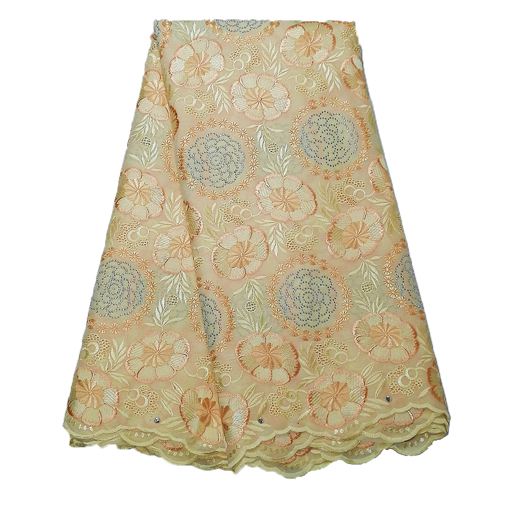 Newest african swiss lace fabric 2019 high quality lace cream gold purple dry lace nigerian fabric for wedding dresses