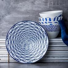 8 дюймов керамические обеденные тарелки круглая рыба напечатанная на глазурованной фарфоровой стейк паста десерты креативные милые блюда и тарелки 1 шт