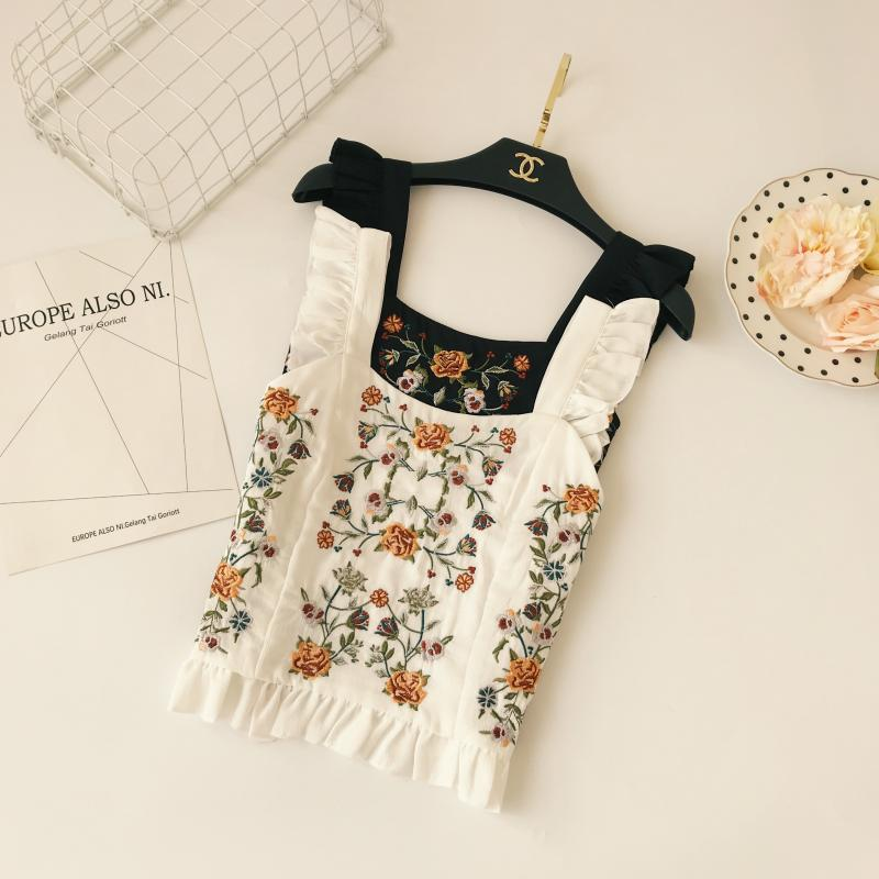 Women Sexy Ear edge Strapless Camis Boho Embroidery   Tank     Tops   Adjustable Summer 2018 Slim Cute   Tank   Female blouses