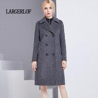 LARGERLOF Double Breasted Blazer Simple Autumn Elegant Women Coats Plus Size Women Winter Long Blazer Women BR50009