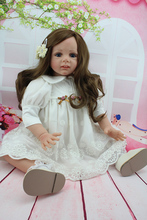 цены 60 cm long hair blue eyes girl doll toys for girls Silicone Reborn dolls Toys 24 inch real doll Reborn baby toy born babies