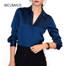 638ed11baf431 S-XXXL moda kadın koyu mavi saten ipek bluz bayanlar rahat uzun kollu düğme  toplama yaka gerçek ipek saten bluz gömlek