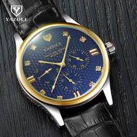 Gold YAZOLE Crystal Rhinestone Diamond Genuine Leather Quartz Business Wrist Watch Wristwatches For Men Male 374