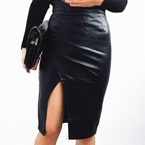 Image 4 - 新 2019 の女性のミディスカート Pu レザー黒ハイウエスト非対称セクシーなスリットペンシルスカートボディコンエレガント Femininas SK8673