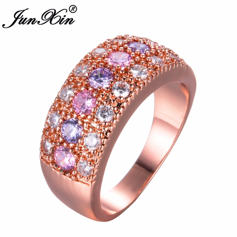JUNXIN Luxury Female Pink Purple Ring 2018 Fashion Rose Gold Filled ...