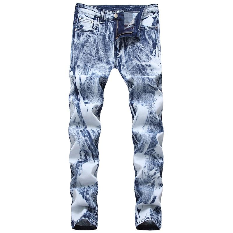 Sokotoo Men's Snow Washed White Light Blue Denim Jeans Slim Straight Stretch Pants