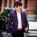 Новый корейский стиль полосатый тонкий плед мужские деловые костюмы свободного покроя хлопок регуляр-fit костюм куртки m-3xl, 3 цветов