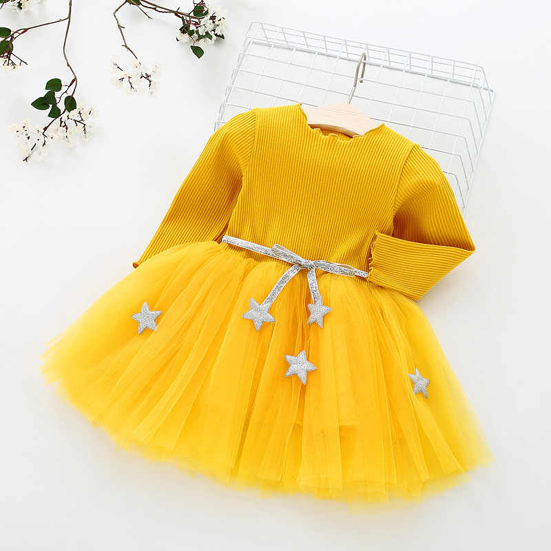 Girls Dress Pentagram Long Sleeve Princess Dress Baby Girls Clothes Christmas Party Children Clothing New Year Kids Dresses 1-8Y