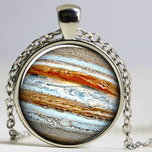 1 pcs jupiter necklace, Planet pendant, crystal jewelry Galaxy universe science Dome Cabochon Necklace