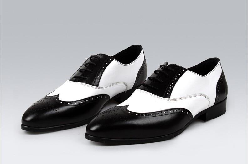 Black white wingtip dress shoes