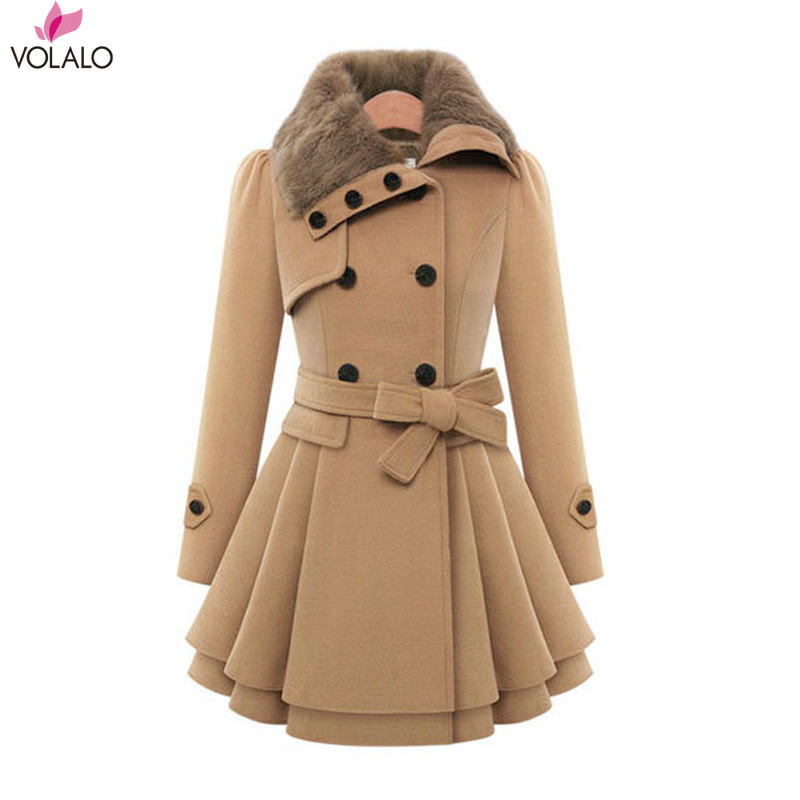 Us 17 99 Volalo Women Oversized Swing Double Breasted Pea Coat Buttons Wool Mid Long Trench Coat With Belt Winter Coat Women Jackets In Wool