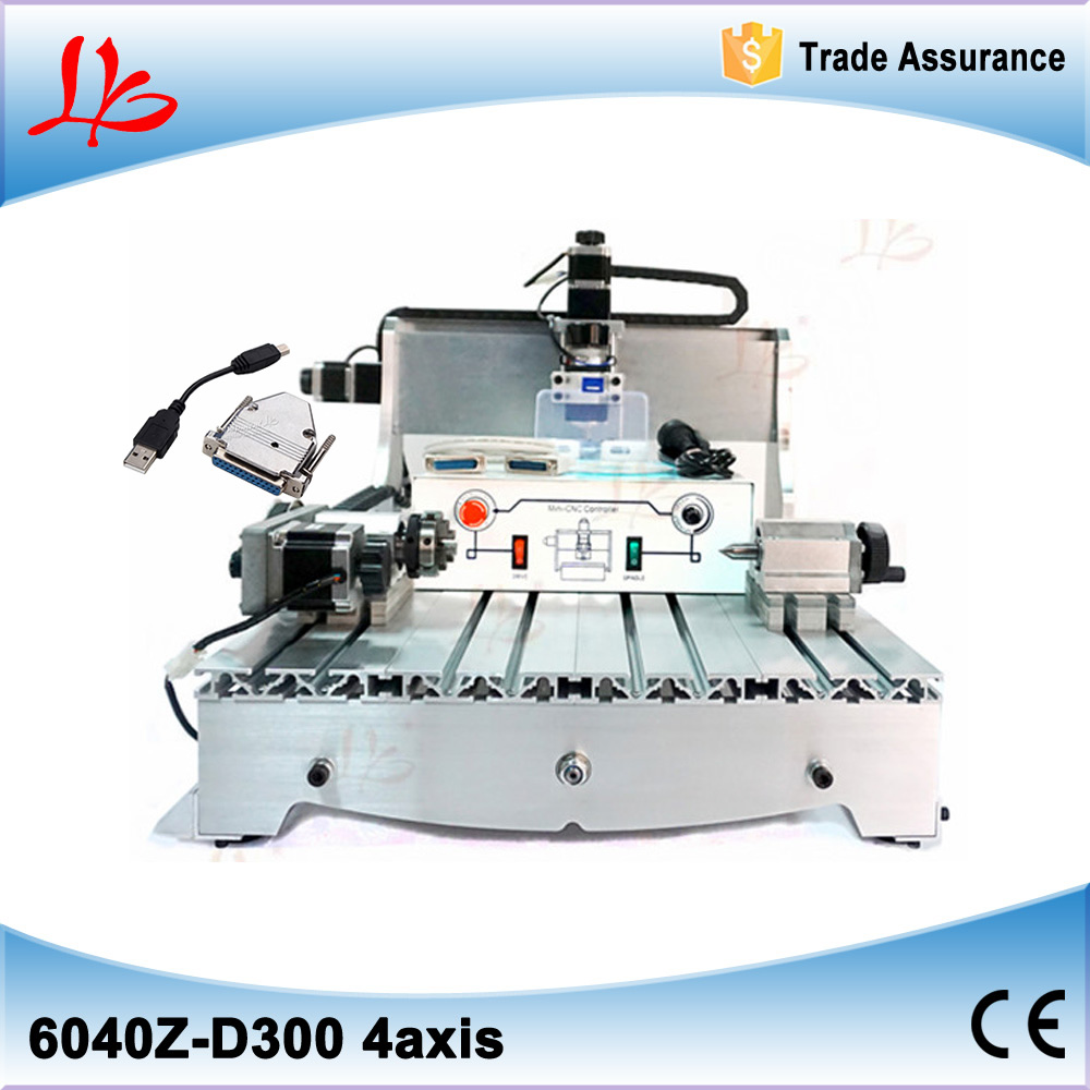 Europe tax free 4 axis mini CNC router 6040Z-D 300W air cooling mini cnc milling machine