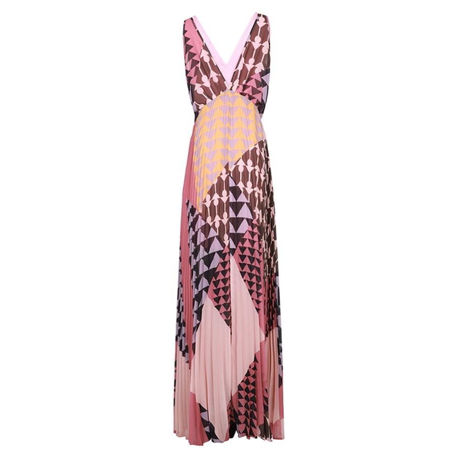 VERDEJULIAY Runway Designer Summer Dress 2019 Elegant Women Sleeveless Print V Neck Pleated Geometric Long BeachDress