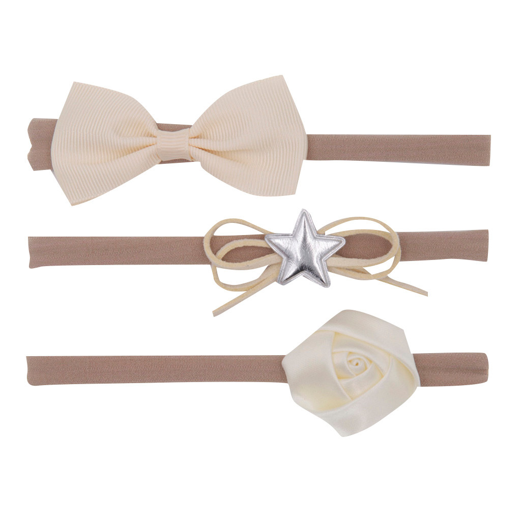 3Pcs Kids Infant Baby Girls Bow Knot Hairband Hair Accessories Set Barrettes Fascia Per Capelli Per Bambini *30