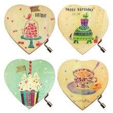 Bevigac Mini Wooden Love Heart Hand Crank Music Musical Box Kids Toy Gift for Birthday Children's Day Memorial Day Random Style