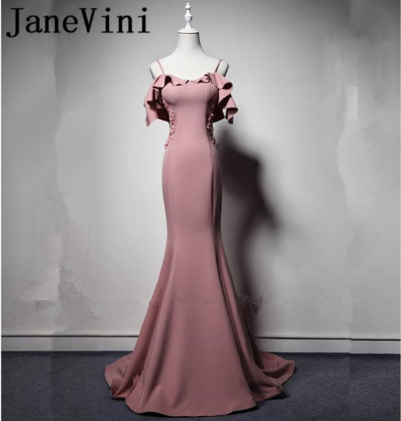 JaneVini Mermaid Beaded Appliques Long   Bridesmaid     Dresses   South African Arabic Black Girls Spaghetti Straps Maid of Honor Gowns