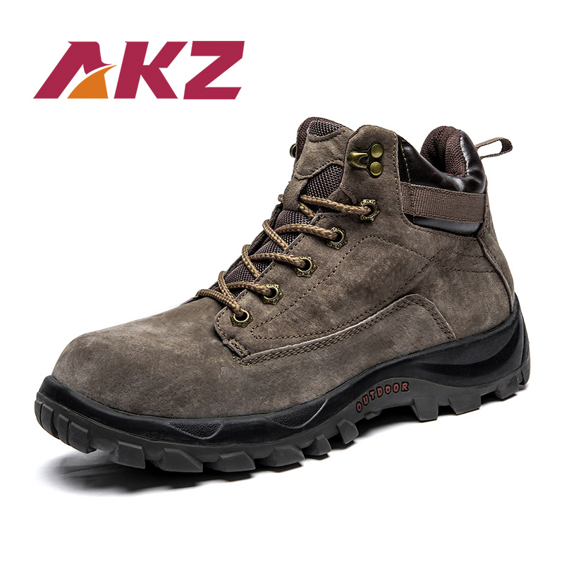 AKZ New Arrival Men's Snow Boots Winter Fur Warm Ankle Boots Pig leather Male Casual Boots Lace-up Men Flats Climbing shoes xiaguocai new arrival real leather casual shoes men boots with fur warm men winter shoes fashion lace up flats ankle boots h599