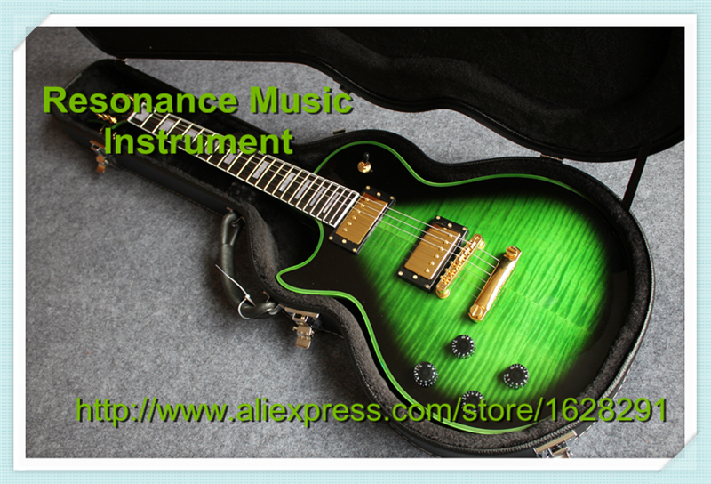 Top Selling Left Handed LP Custom Guitar Green Finish and Binding Ebony Fretboard with Black LP Hard Case For Sale new arrival lp custom electric guitar with tonepros ebony fretboard flamed maple top