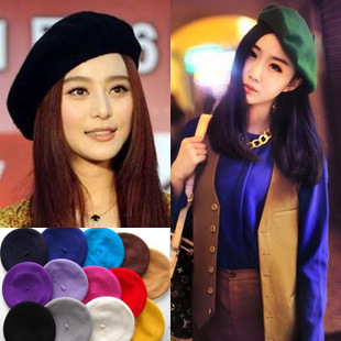 new Korean fall and winter woolen beret hat painter cap princess hat cap for women cheap wholesale free shipping 16 colors free shipping 2016 new 1pcs wholesale diamond grid stripe knit cap man and a woman in winter warm hat 100% quality assurance