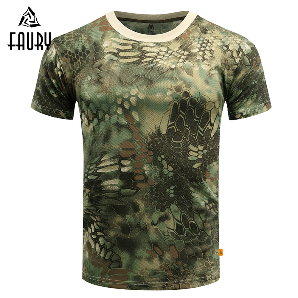 Military Uniform Summer Military T-shirt Men Breathable O Neck Army Green Tactical Combat Tops Dry Camo Camp Clothes