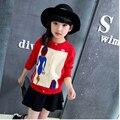 Характер вязание девушки свитера кардигана дети красный черный с длинным рукавом вязаный свитер девушки куртки осень 2016 девушки топы одежда
